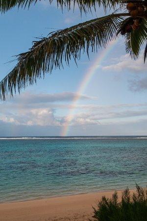 Titikaveka Beach: Rainbow in Distant Shower