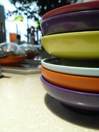 Yo Sushi: my empty plates! Was stuffed when I walked out!