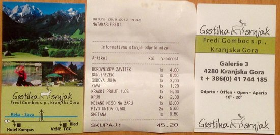 Gostilna Srnjak: Visit card e conto