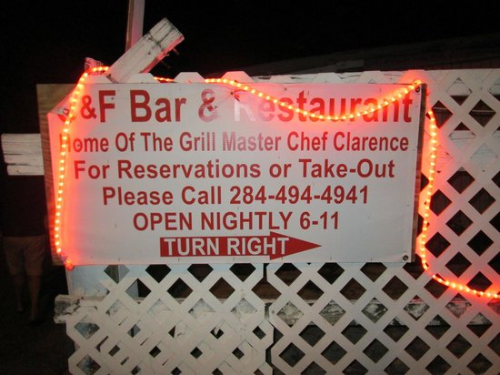 C & F Bar and Restaurant: Only Sign, Don't Miss it!
