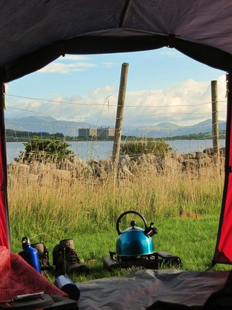Cae Adda: Morning view from the tent.