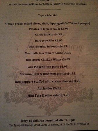 The Apiary Cafe Bar Menu & Menu - Picture of The Apiary Cafe Bar Castle Donington - TripAdvisor