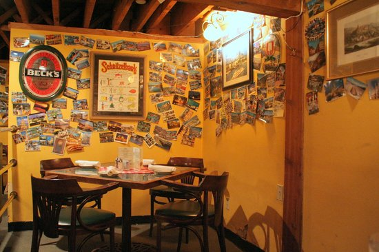 Winzer Stube: A nook in the restaurant decorated with postcards
