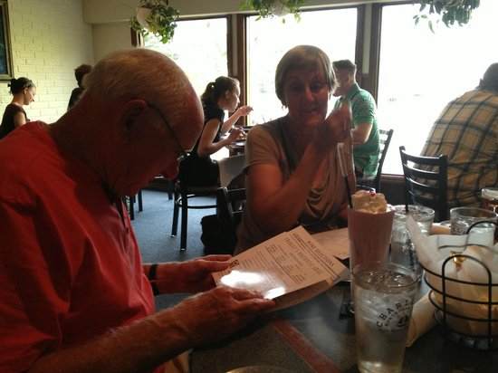Charley's Boat House Grill: Grandad with Strawberry Milkshake ordering a NY Strip at Charley's
