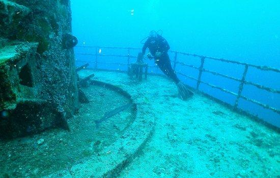 Vandenberg Wreck : My dive buddy Curtis admiring a barracuda