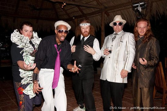 DoceLunas Hotel, Restaurant & Spa: My band Midnight Spaghetti & the Chocolate G Strings clowning before performing at Doce Lunas fo