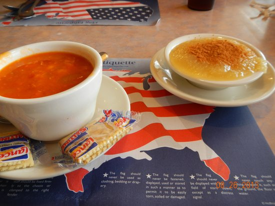 Marysville Diner: ham and bean soup and applesauce