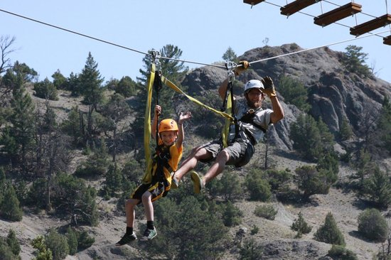 Montana Whitewater Rafting and Zipline on the Yellowstone River: 7 year old Mays being hauled in by Mountain Monkey