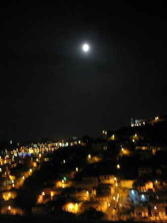 The Green Iguana Hotel: Full Moon over St. Thomas from our room