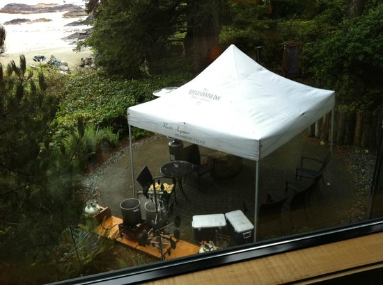 Wickaninnish Inn and The Pointe Restaurant: View from Room 25, On the Beach building (tent for crab cookout beneath our window)