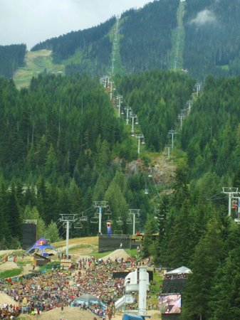 Sundial Boutique Hotel : View from our suite: Crankworx 2013, Whistler Mtn & chairlifts