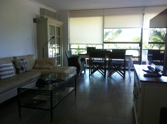 Smugglers on the Beach: View from the front door of Lounge room and dinning area to Balcony.
