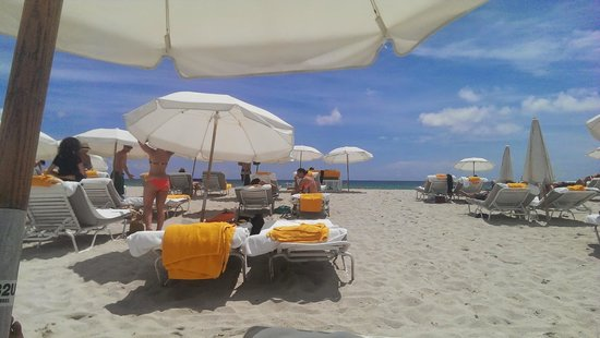 Shore Club South Beach Hotel: Pristene white sand and the blue waters