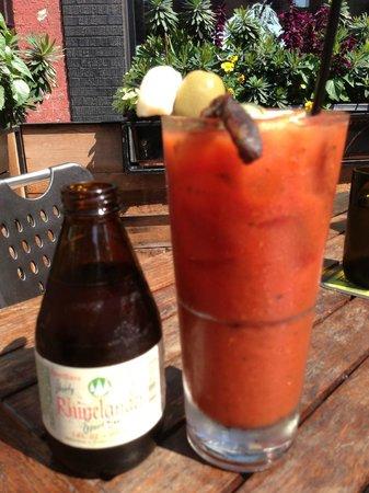 Farmhouse Tavern Restaurant : Bloody Mary with Rhinelander chaser