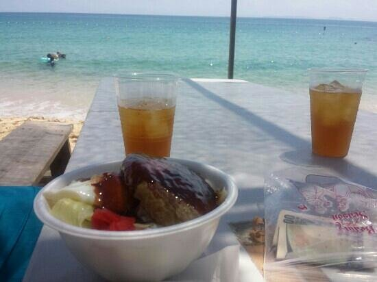 Nishikihama Beach: Lunch provided from Club Hawaii. Hamburger steak gyudon. Delicious.