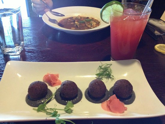 sprig and vine: Edamame falafel with black sesame tahini, and a watermelon agua fresca to drink.