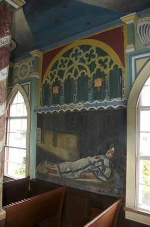 The Painted Church: One of the many panels - Bible Scenes