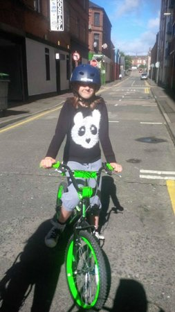 Belfast City Bike Tours: My daughter on the BMX