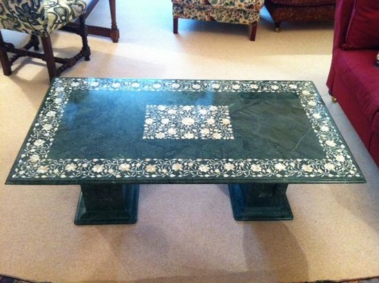 J K Cottage Industries Green Marble Coffee Table With Mother Of Pearl And Abalone