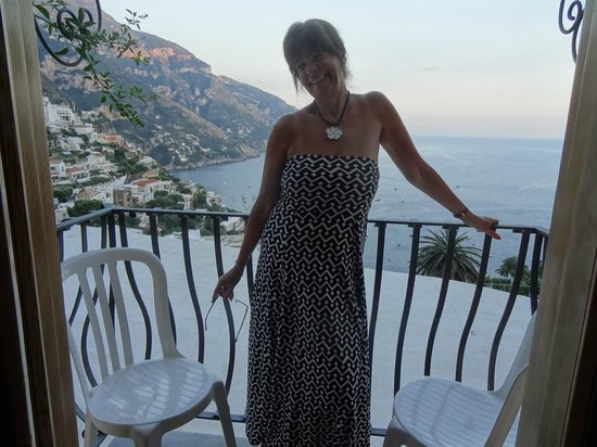 Conca d'Oro: Cathy on our spectacular balcony