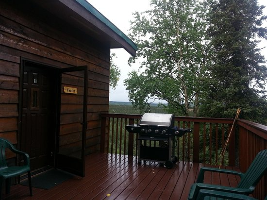 Healy Heights Family Cabins: View of the Chalet Porch.