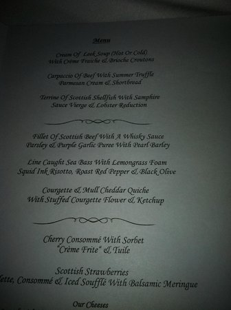 Dalhousie Castle: Menu