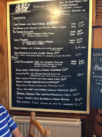 The Floating Bridge Inn: Specials board