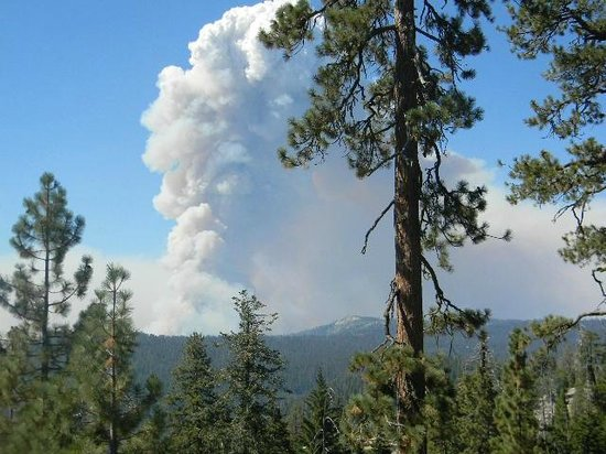 White Wolf Lodge: Rim fire near White Wolf Aug 26 from tioga road