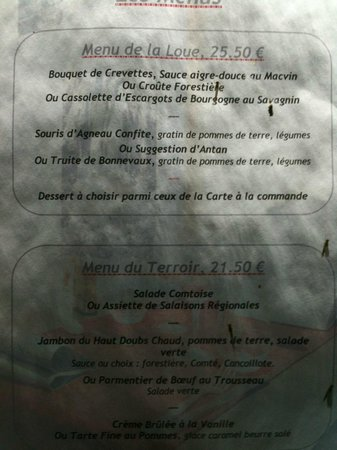 Menu picture of la table de gustave ornans tripadvisor La table de gustave ornans