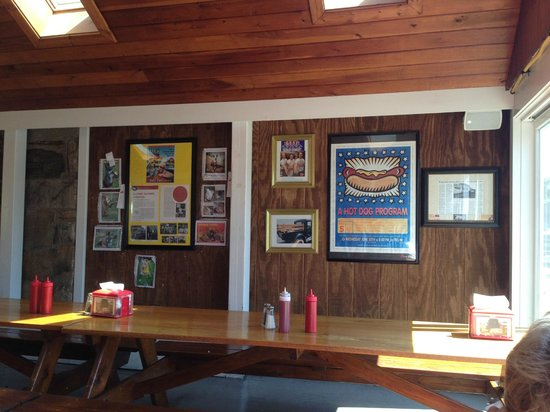 Super Duper Weenie: photos on wall in covered patio area