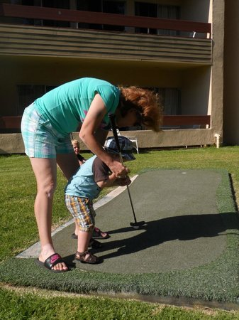 San Clemente Inn: my almost 2 year old playing mini golf