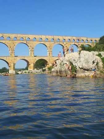 Kayak Vert : Arrivée au pont du Gard