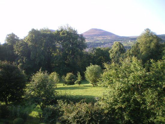 Grounds and Eildon Hills from the house