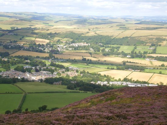 Fauhope House: Gattonside (above centre) and Melrose (closer) from Eildon Hills