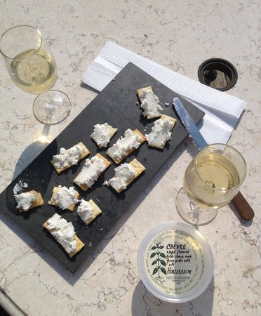Macari Vineyards: Horseradish goats cheese and Reserve Chardonnay
