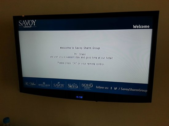 The Royal Savoy Sharm El Sheikh: Welcome message on TV screen