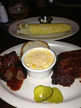 Jack Stack Barbecue - Freight House: Pork, ribs and double serving of corn.