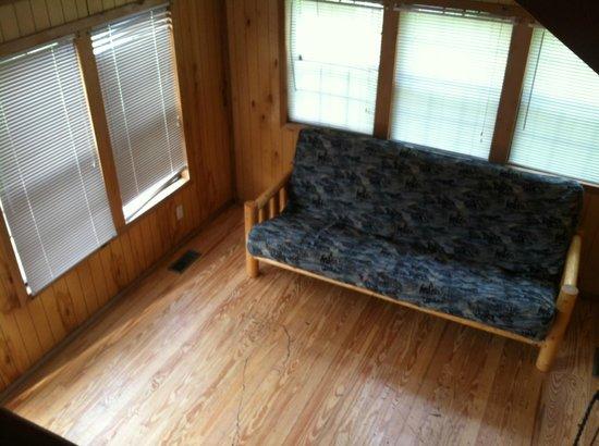 Devils Tower KOA: living room of our cabin