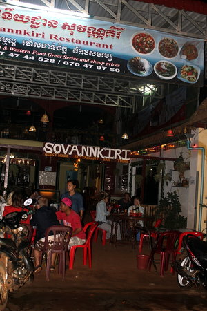 Sovannkiri: Directly across from the market.