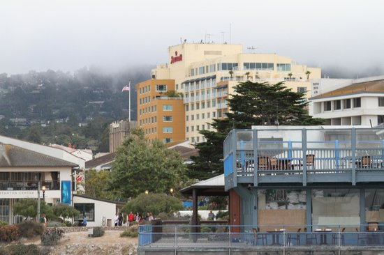 Monterey Marriott: View of Marriott from the Wharf and harbor