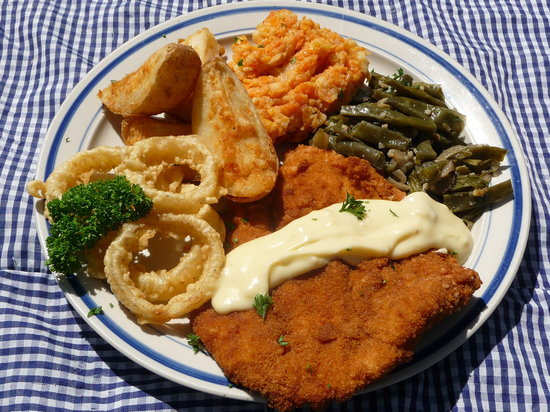 Home-cooked meals - chicken schnitzel - Picture of The Skaf\'Tin ...