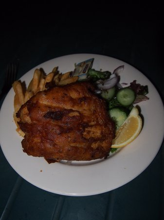 Pan fried Barramundi with chips and salad. Sooooo good!