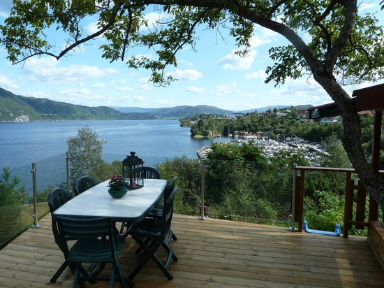 View from the terrace at Fjordside lodge.
