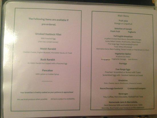 The Beeches B&B: Breakfast menu