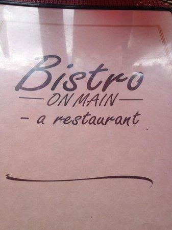 Bistro on Main: Bistro Menu