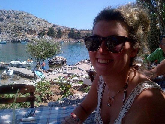 Dimitris' Beach Bar: View of St Paul's Bay from Dimitris' Cantina