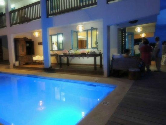 Villa Shacks : view of pool, downstairs front unit. set up for our wedding.