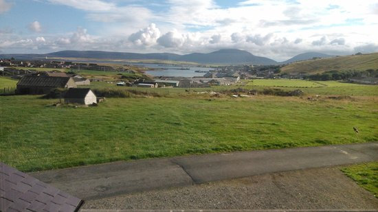 Burnside Farm : the view from our window, looking down to stromness, Hoy in the distance.