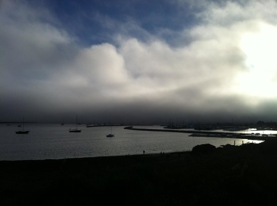 Beach House at Half Moon Bay: Fog rolls in at sunset.