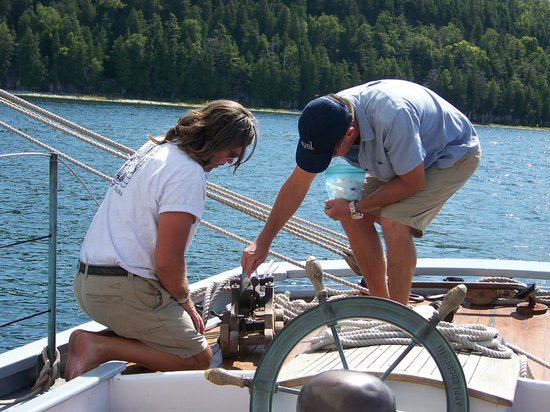 Sail Door County : Crew manning the cannon.